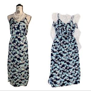Faux wrap floral dress v neck